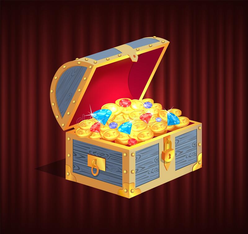 Free Loot Box With Gemstone, Brilliant And Coin Vector Stock Photo - 183428360