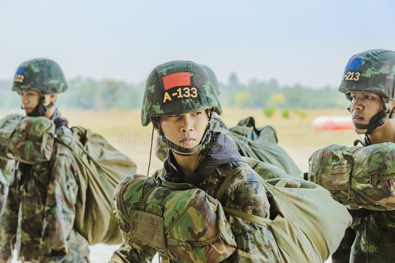 LOPBURI THAILAND, MARCH 24, 2019 : Cadet training for parachuting at Ban Tha Duea Drop Zone on March 24,2019 stock image