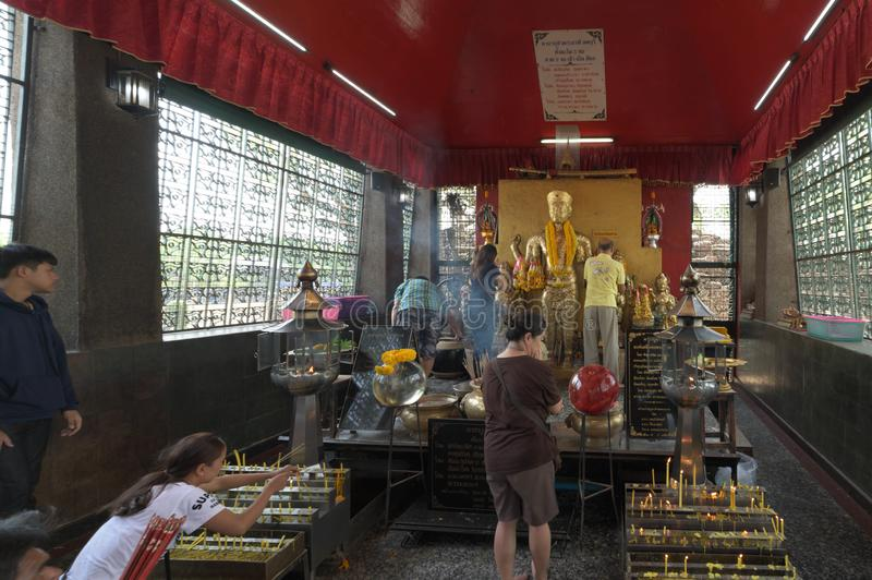 Lopburi, Thailand - May 11, 2019 : People make offerings to the spirits royalty free stock photography