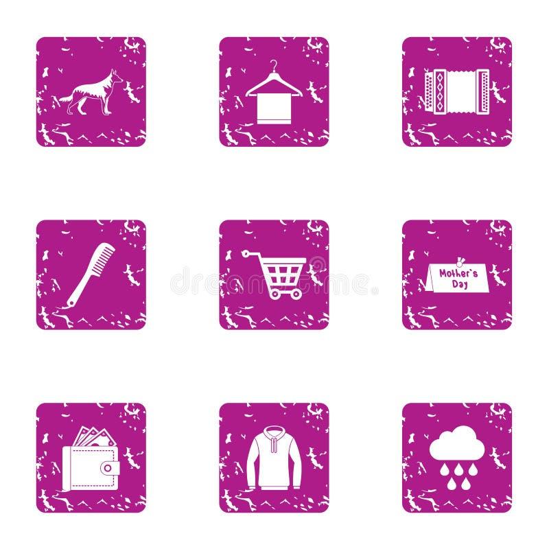 Lopend bewolkte geplaatste pictogrammen, grunge stijl royalty-vrije illustratie