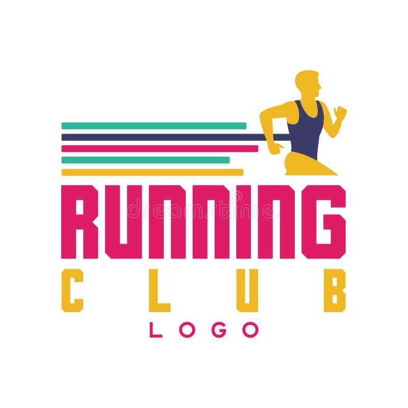 Lopend clubembleem, embleem met de abstracte lopende mens, etiket voor sportclub, sporttoernooien, de concurrentie, marathon en vector illustratie