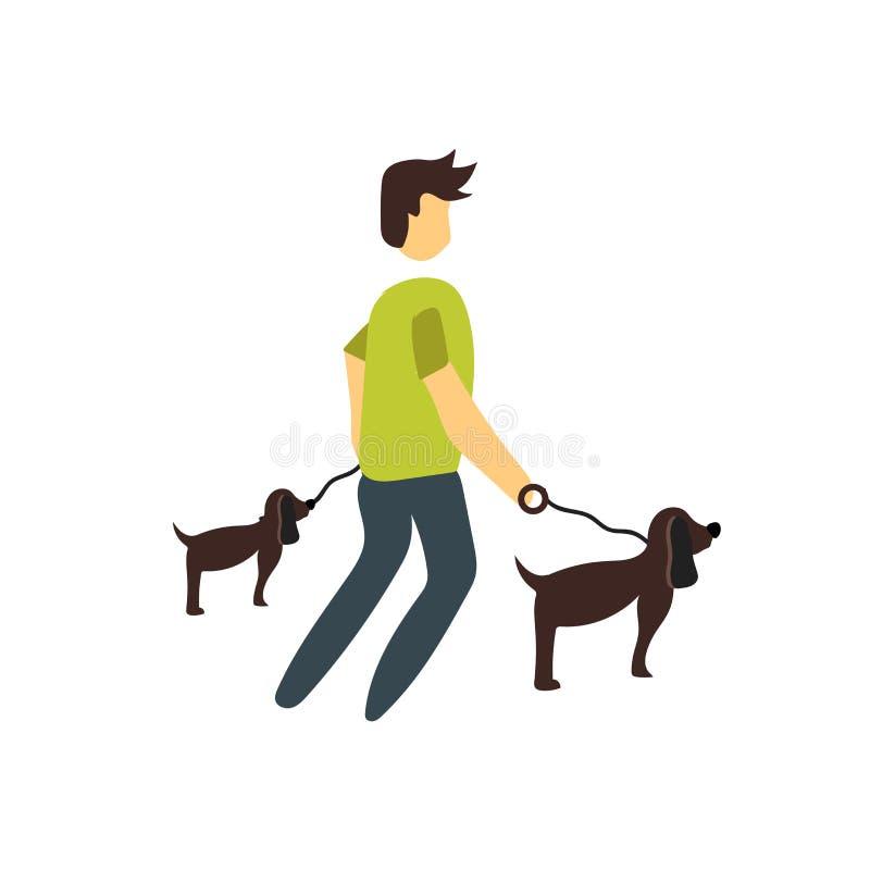Lopend de vector van het hondpictogram op witte achtergrond wordt geïsoleerd, die het hondteken lopen dat royalty-vrije illustratie