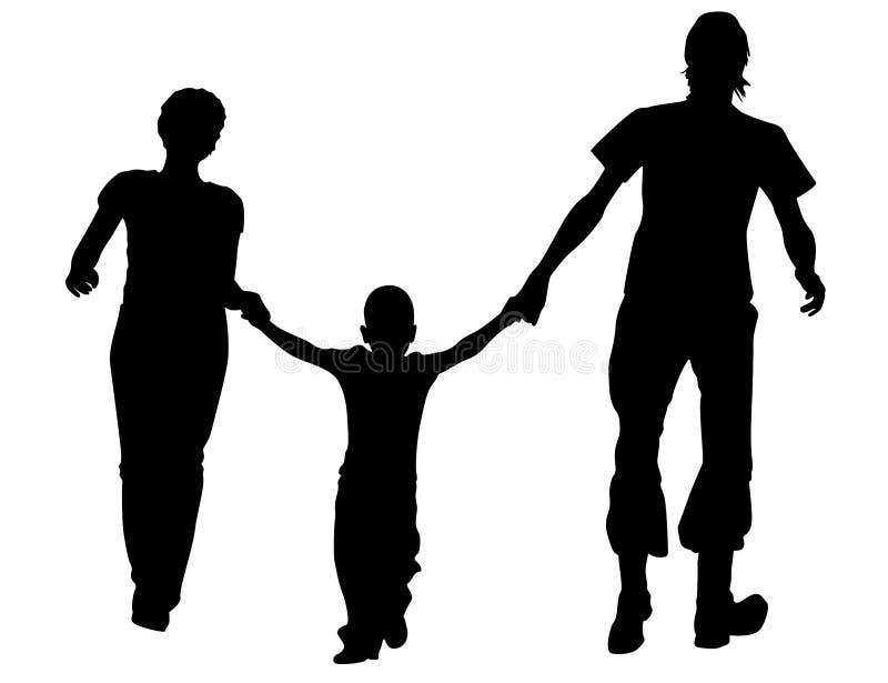 Lopend familiesilhouet royalty-vrije illustratie