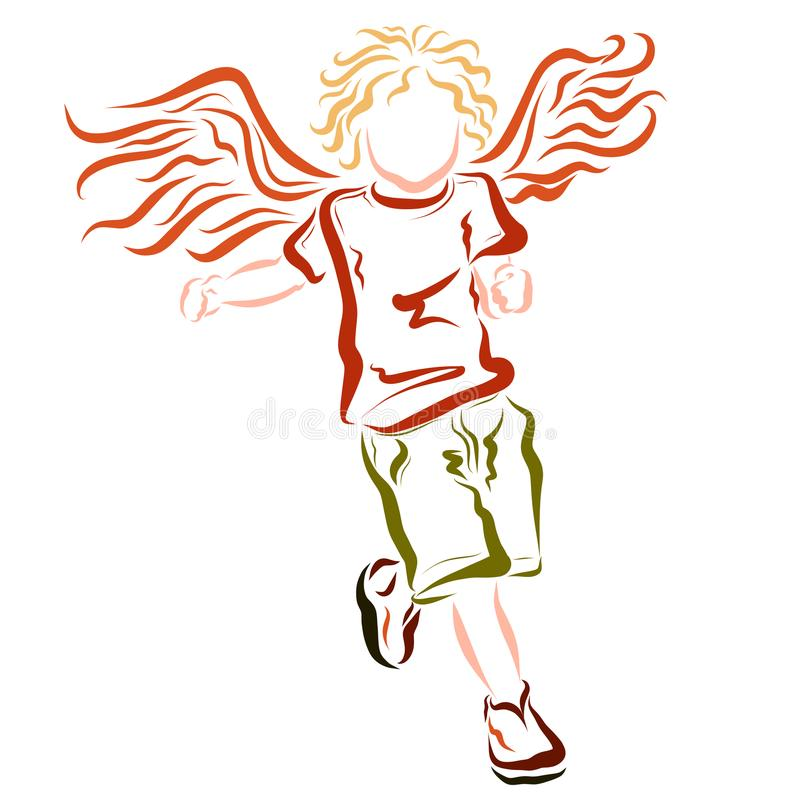 Lopend gevleugeld vrolijk kind, kinderjaren stock illustratie