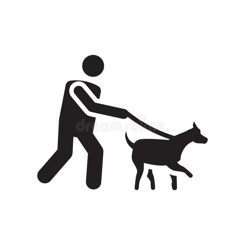 Lopend het vectordieteken en het symbool van het hondpictogram op witte achtergrond wordt geïsoleerd, die het het conceptenpictog vector illustratie