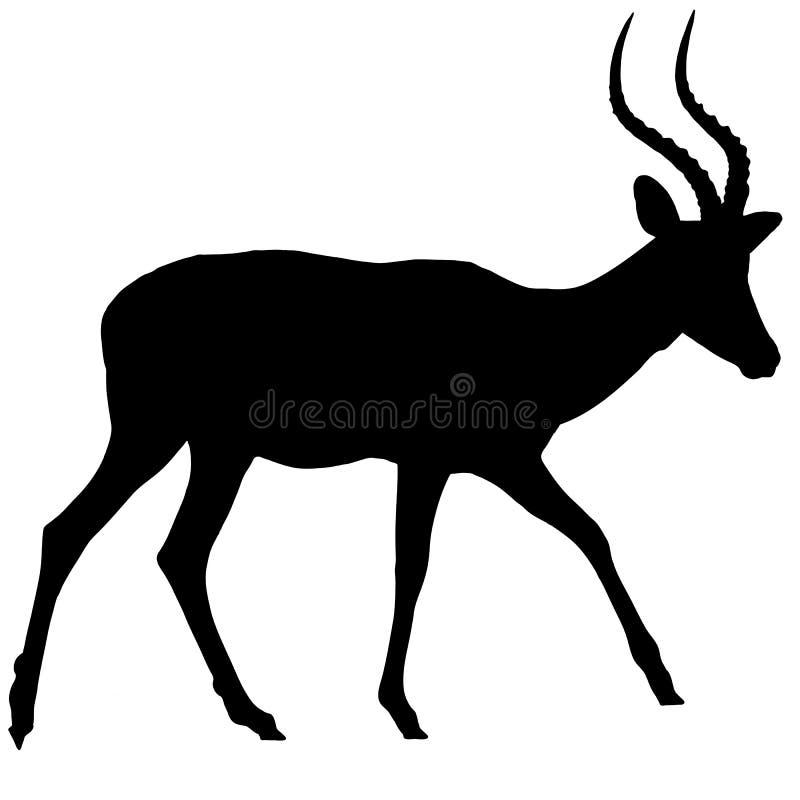 Lopend Impalaantilope - Silhouet royalty-vrije illustratie