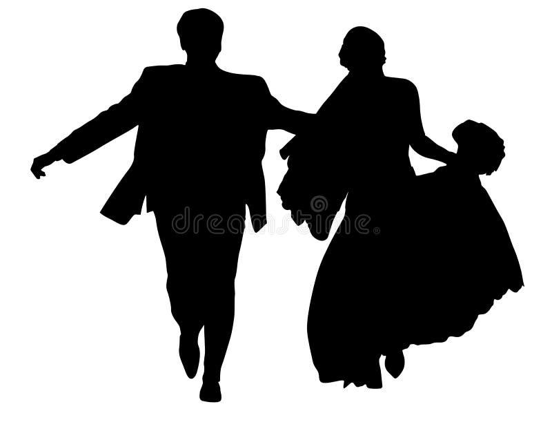Lopend jonggehuwdesilhouet royalty-vrije illustratie