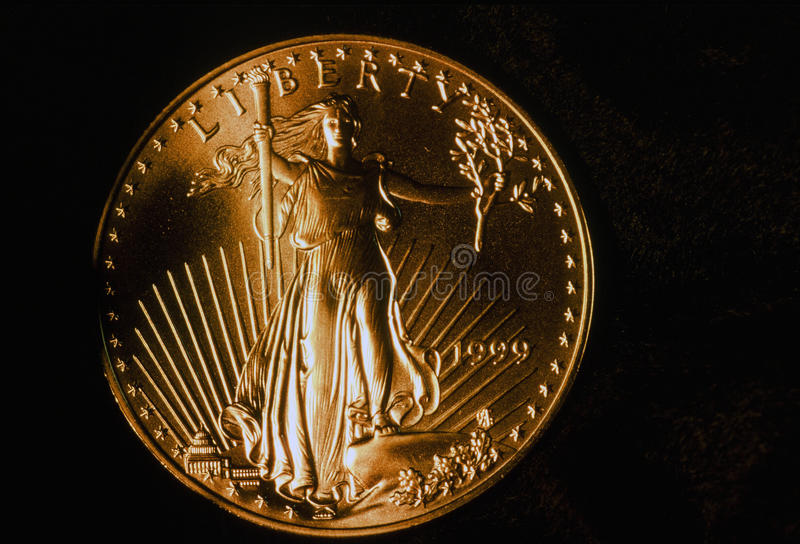 1999 Lopend Liberty Eagle Gold Coin royalty-vrije stock foto's