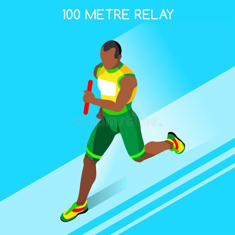 Lopend Mensenrelais van Atletische het Pictogramreeks van de Zomerspelen Het concept van de snelheid royalty-vrije illustratie
