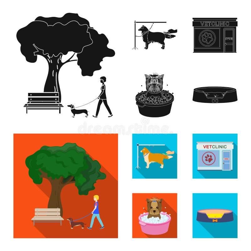 Lopend met een hond in het park, die een hond, een veterinair bureau kammen, die een huisdier baden Van het dierenartskliniek en  vector illustratie