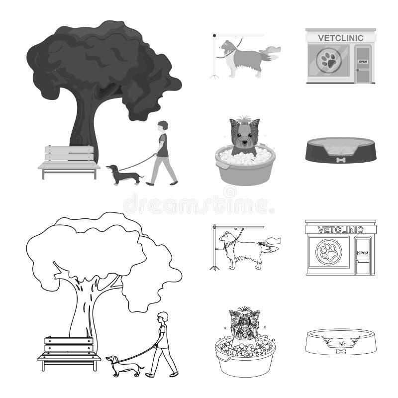 Lopend met een hond in het park, die een hond, een veterinair bureau kammen, die een huisdier baden Van het dierenartskliniek en  royalty-vrije illustratie