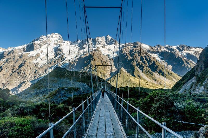 Lopend over de houten brug langs het Hooker Valleispoor, M stock afbeeldingen