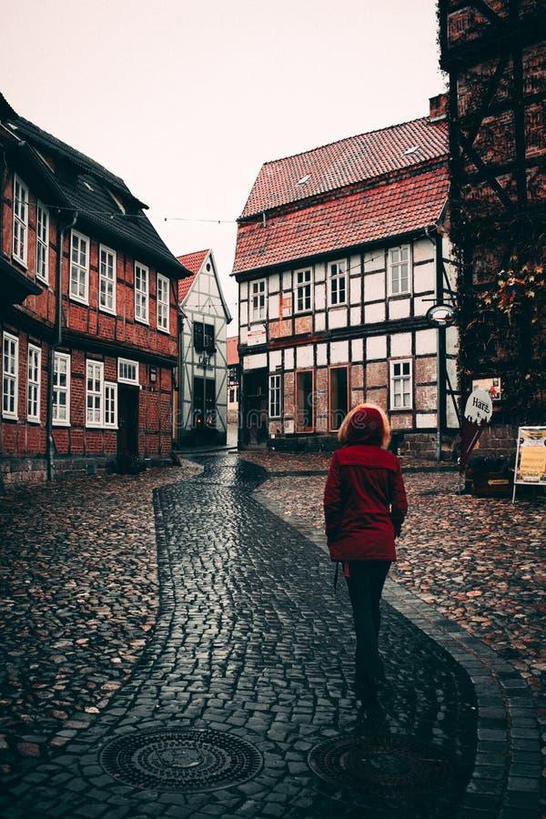 Lopend in Quedlinburg, Oost-Duitsland royalty-vrije stock fotografie