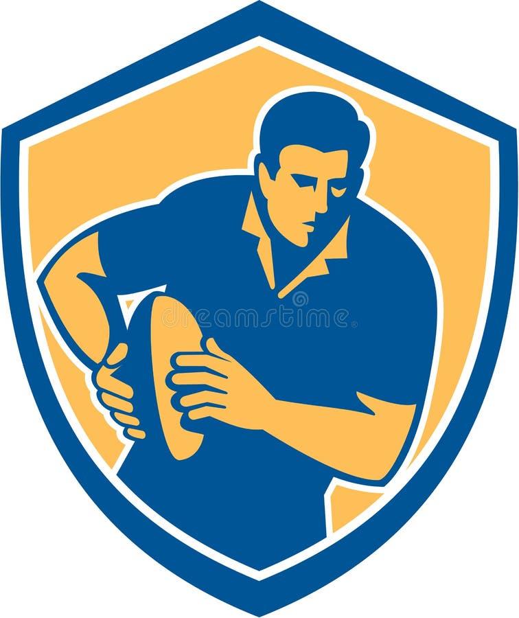 Lopend Retro de Balschild van de rugbyspeler royalty-vrije illustratie