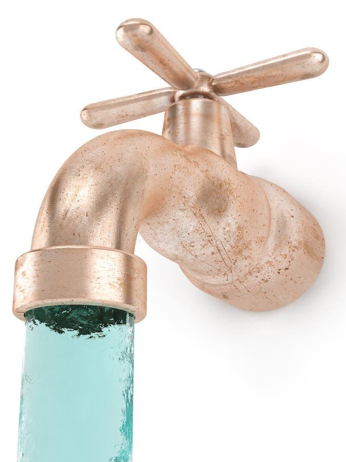 Lopend water en plugkraan royalty-vrije stock afbeelding