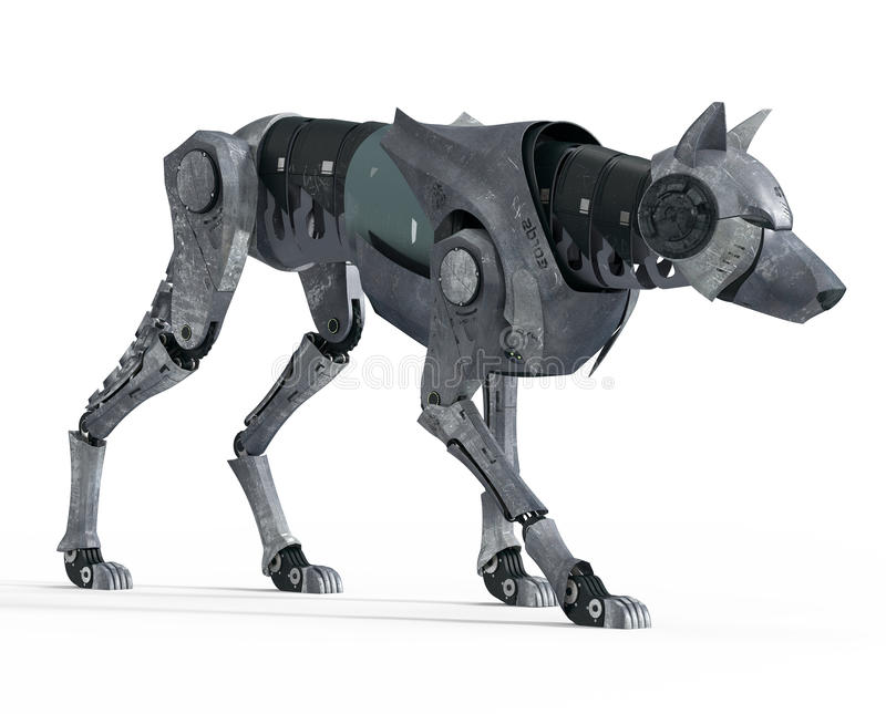 Lopend Wolf Robot Front View stock illustratie