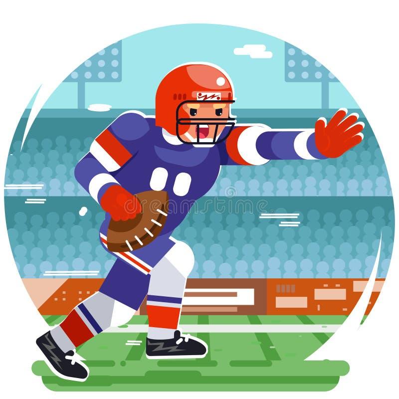 Lopende Amerikaanse van het de sportstadion van de rugbyspeler chatacter agressieve vlakke het ontwerp vectorillustratie stock illustratie