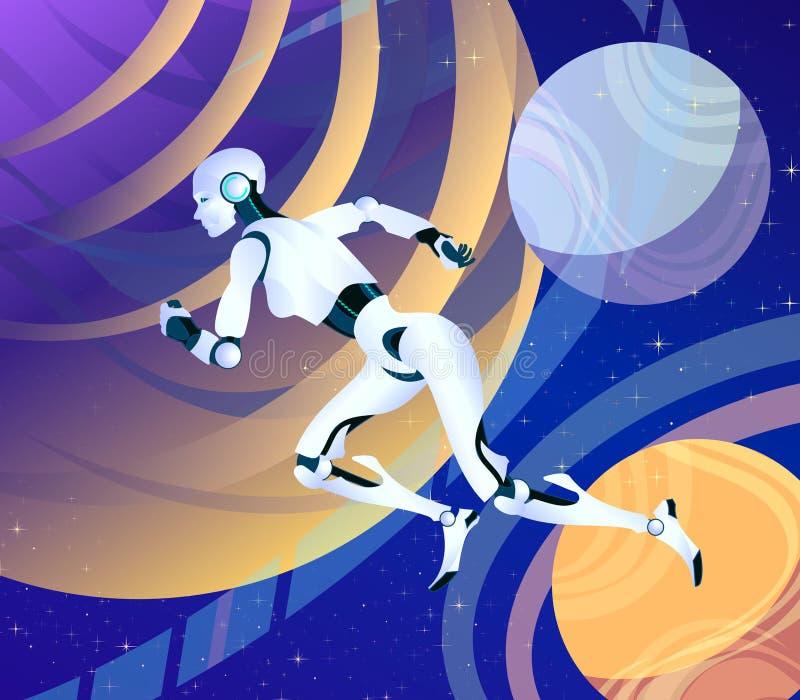 Lopende Android-robotvrouw in ruimte, Futuristische vectorfantasiekunst van de toekomst ruimte overwinnen, interplanetair stock illustratie