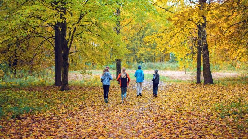 Lopende atleten in het park op een looppas in de vroege ochtend Verscheidene kinderen lopen in het hout die sporten doen royalty-vrije stock foto