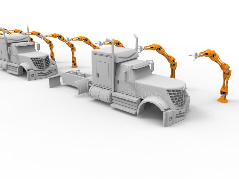 Lopende band van vrachtwagens de robotachtige wapens vector illustratie