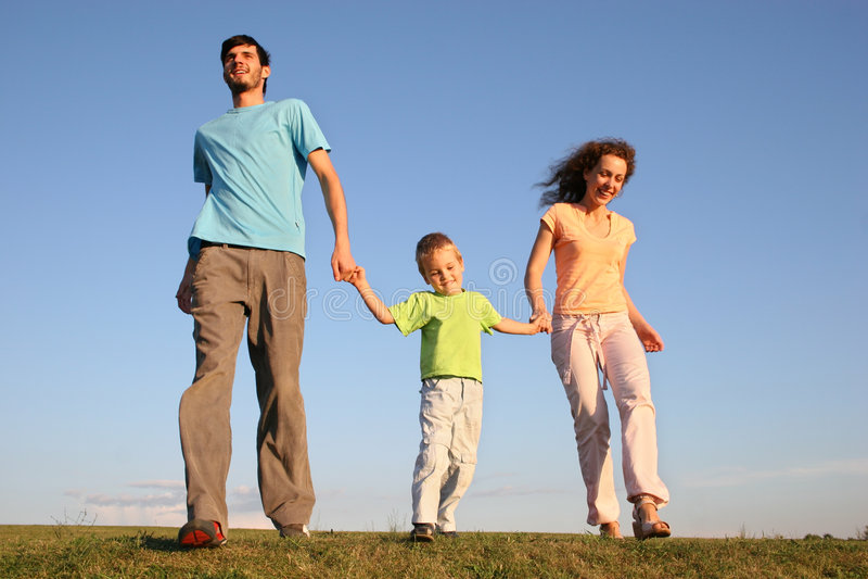Lopende familie stock fotografie