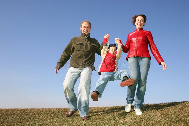 Lopende familie stock foto's