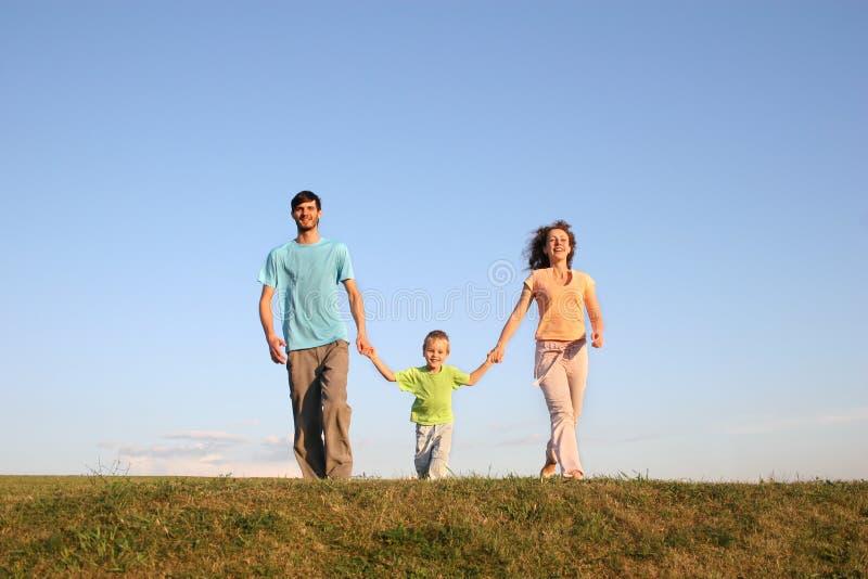 Lopende familie op weide 3 stock foto