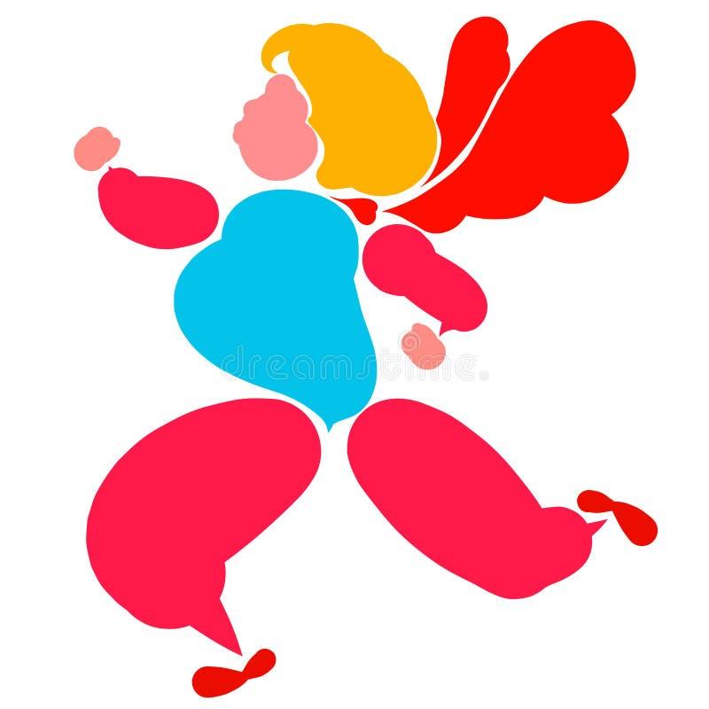 Lopende gevleugelde vette of zwangere vrouw, kleurrijk silhouet vector illustratie