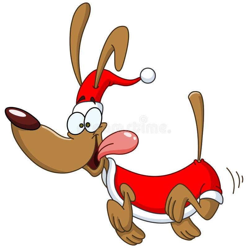 Lopende hond met santakleren stock illustratie