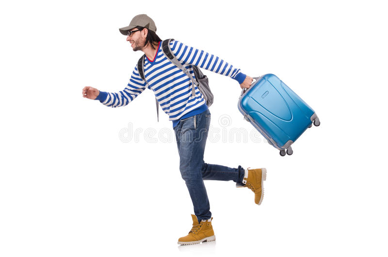 Lopende jonge reiziger met geïsoleerd geval stock foto's