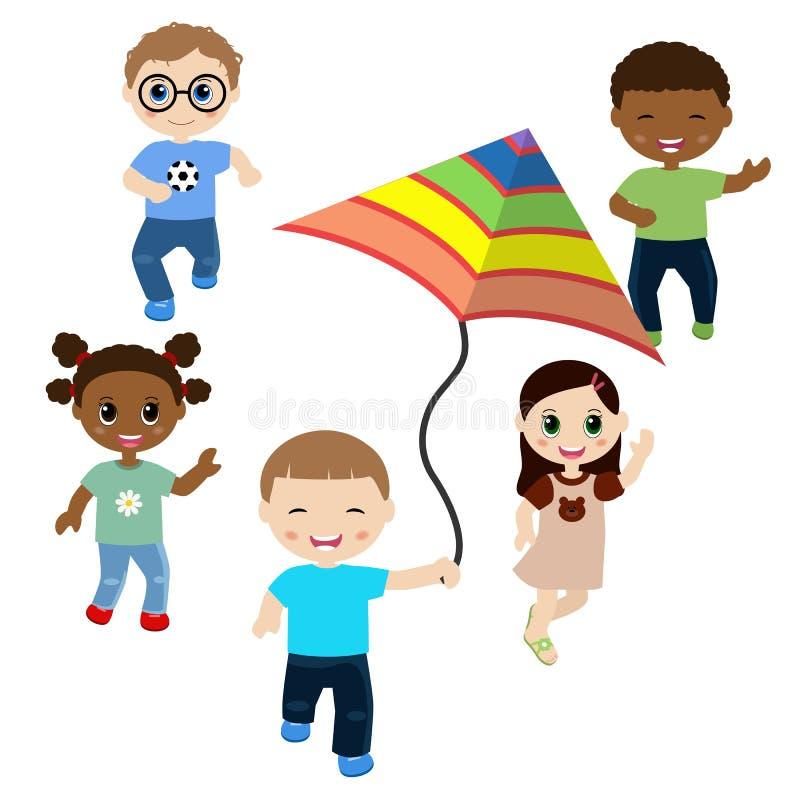Lopende kinderen op witte achtergrond stock illustratie