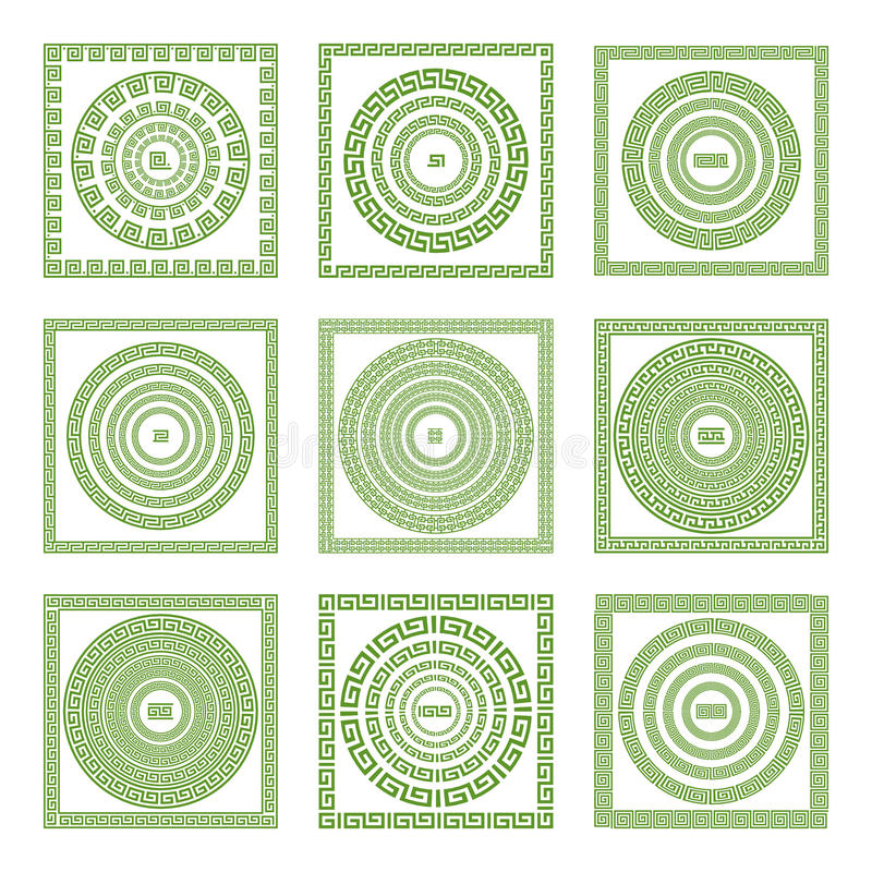 Lopende meander, decoratieve meandergrens, voorbeelden met verschillende kleuren en hoekstukken royalty-vrije illustratie