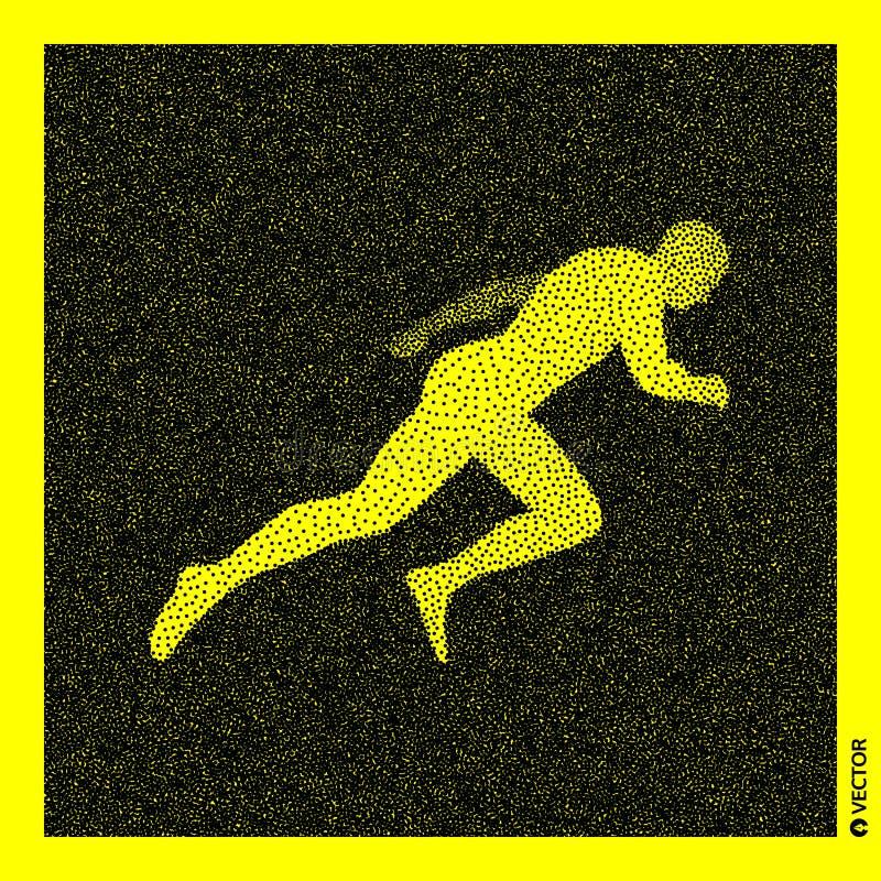 Lopende Mens 3D Menselijk Lichaamsmodel Zwart en geel korrelig ontwerp Gestippelde vectorillustratie vector illustratie