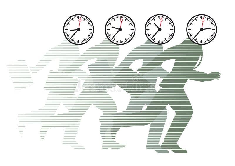 Lopende mensen met klokken als hoofden vector illustratie