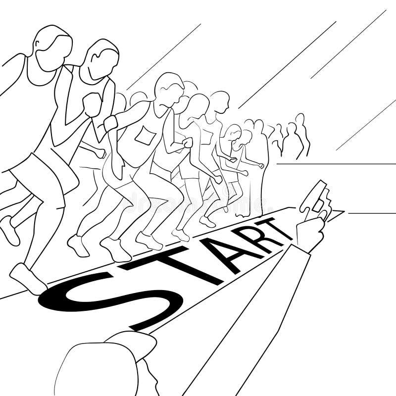 Lopende mensen tijdens een stadsmarathon Hand getrokken schets vectorillustratie royalty-vrije stock afbeelding