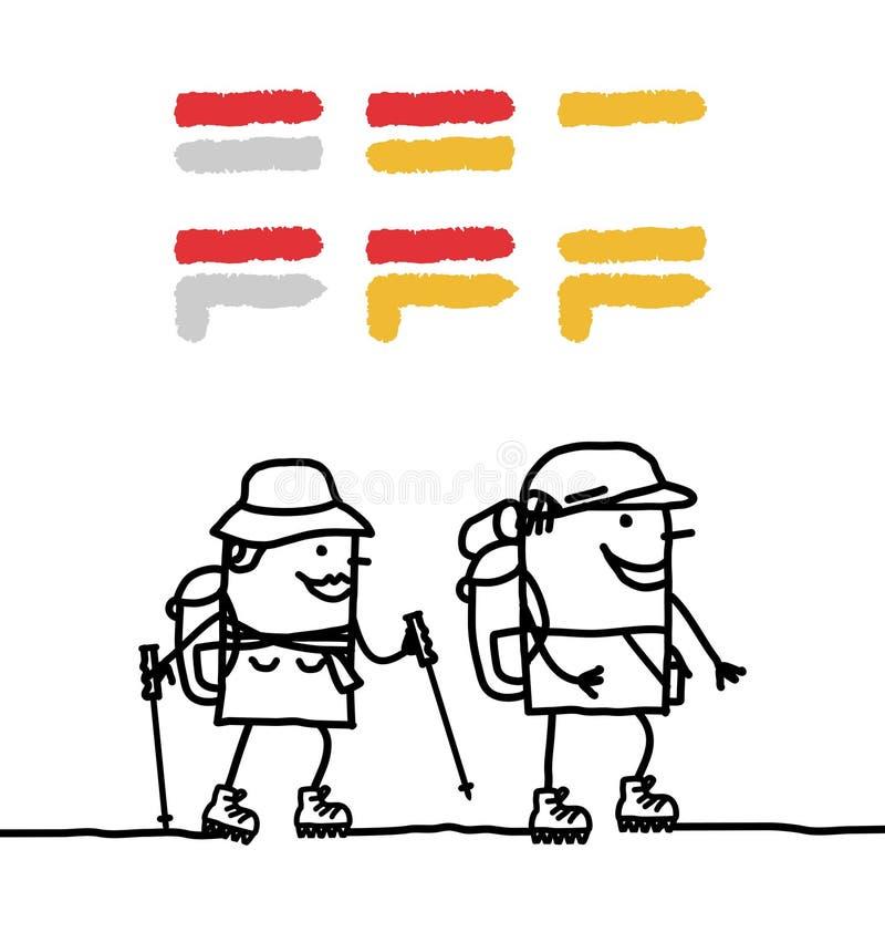 Lopende paar & van gr. tekens vector illustratie