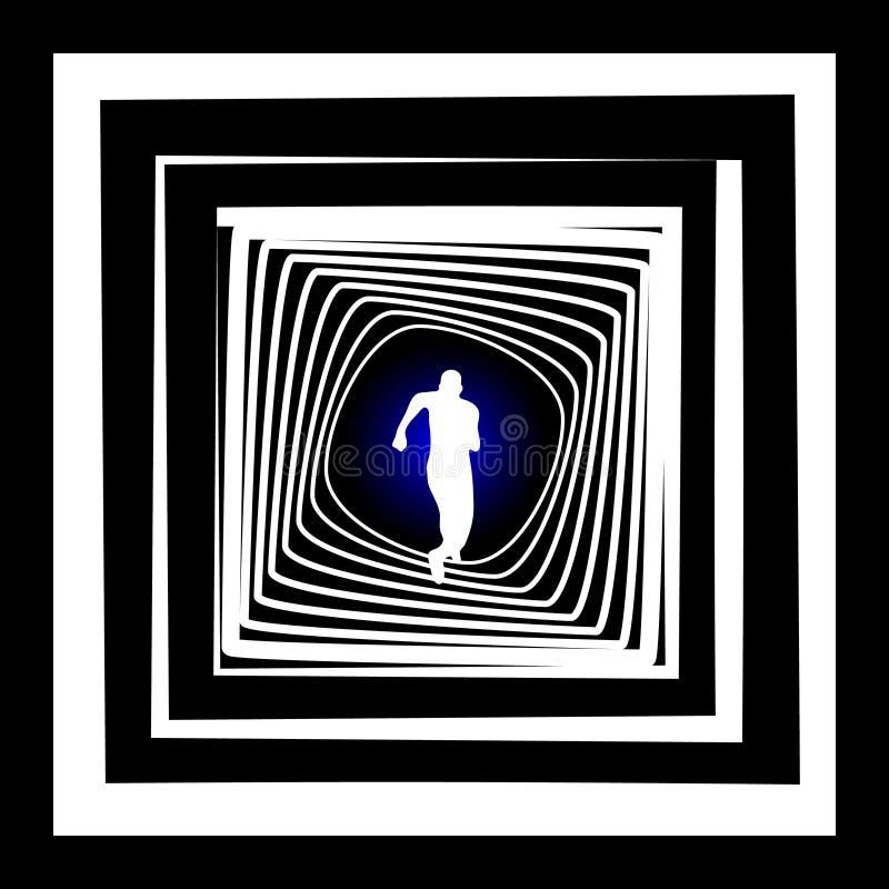 Lopende persoon met licht aan het eind van tunnel vector illustratie