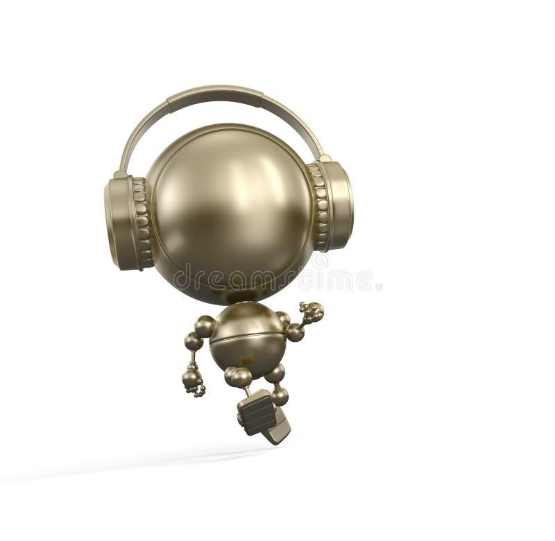 Lopende robot met Hoofdtelefoon royalty-vrije illustratie