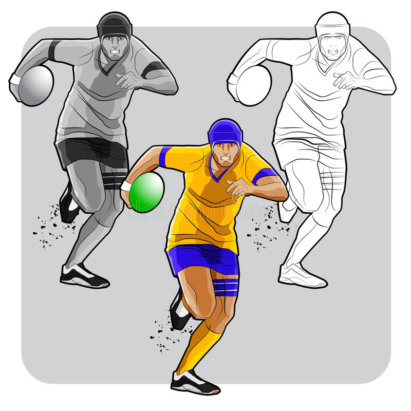 Lopende rugbyspeler vector illustratie