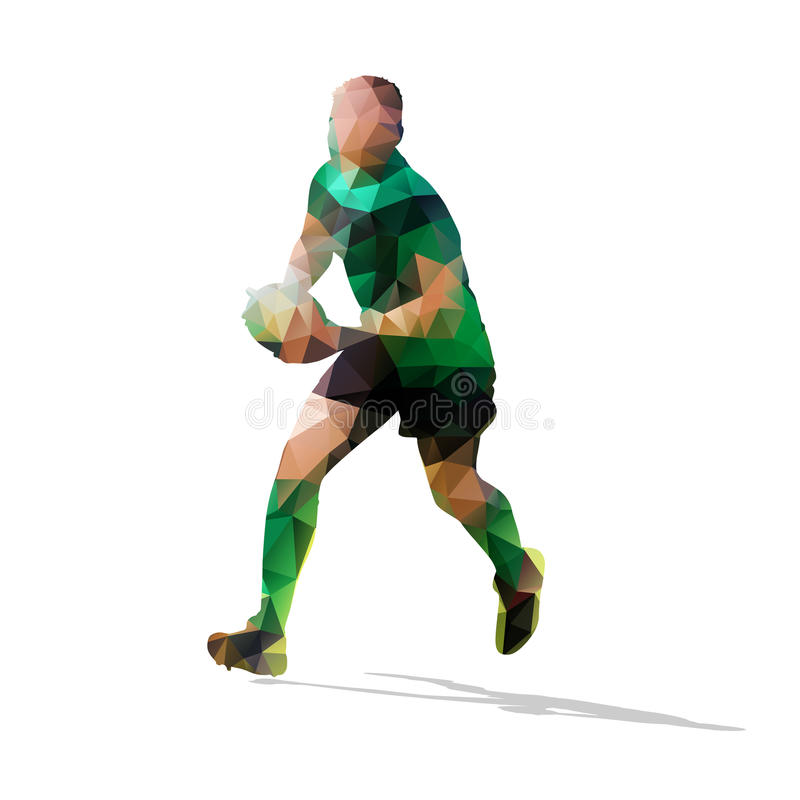 Lopende rugbyspeler, abstracte vectoragent vector illustratie
