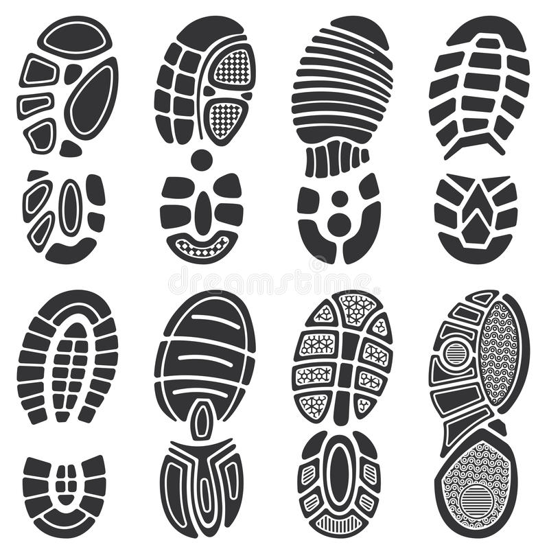 Lopende vector de voetafdrukreeks van sportschoenen vector illustratie