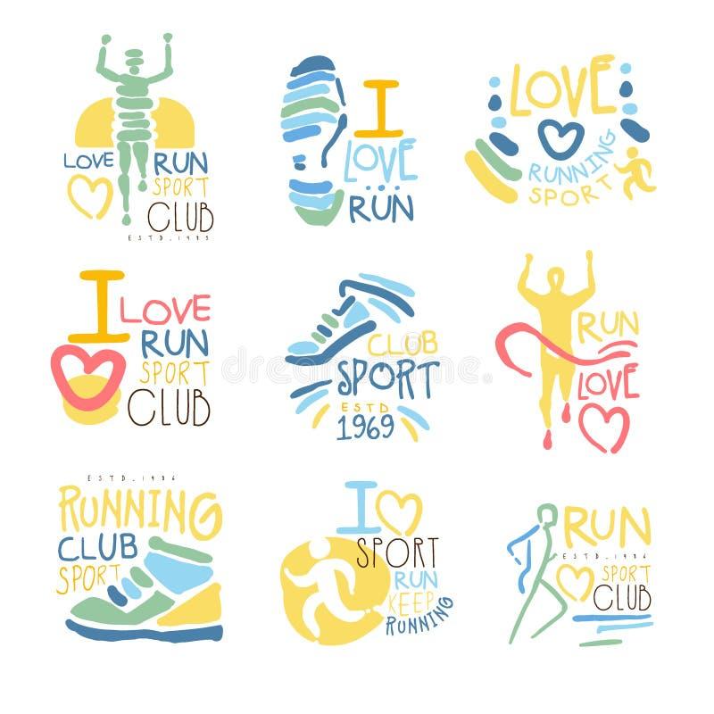 Lopende Verdedigers en van Looppasventilators Club voor Mensen die Sport van Reeks Kleurrijke Promo-Malplaatjes van het Tekenontw royalty-vrije illustratie
