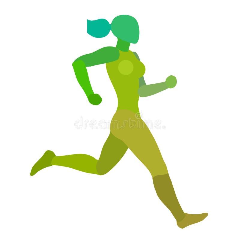 Lopende Vrouw Aanstotend meisje Groen die silhouet op een witte achtergrond wordt geïsoleerd royalty-vrije illustratie