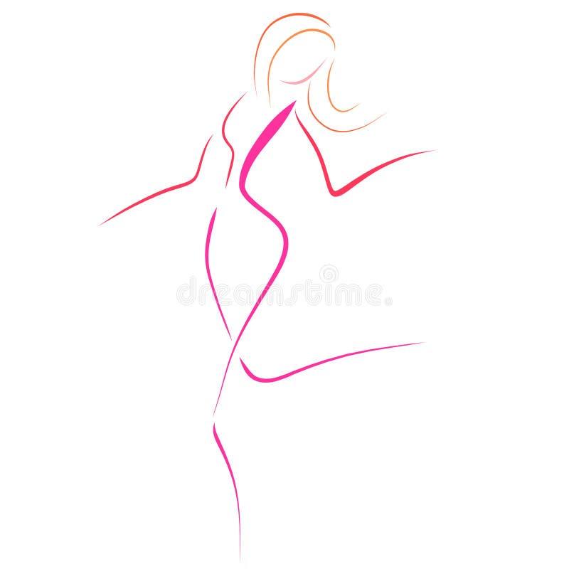 Lopende vrouw in roze, lichte schets van verscheidene lijnen vector illustratie