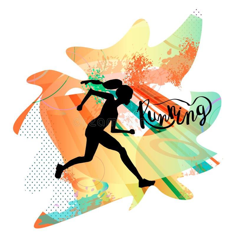 Lopende Vrouw Vectorillustratie van lijnstijl De affiche, de druk of de banner van de kleurensport voor marathon stock fotografie