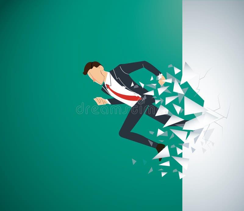 Lopende Zakenman Breaking de muur aan succes Bedrijfs conceptenillustratie vector illustratie
