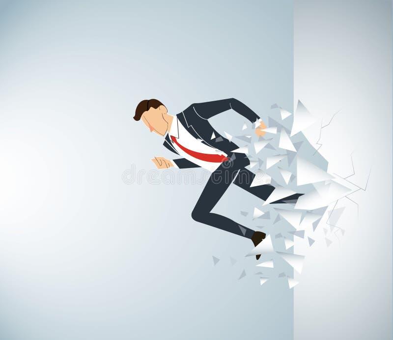 Lopende Zakenman Breaking de muur aan succes Bedrijfs conceptenillustratie royalty-vrije illustratie