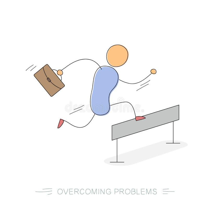 Lopende zakenman die - moeilijkheden overwinnen vector illustratie