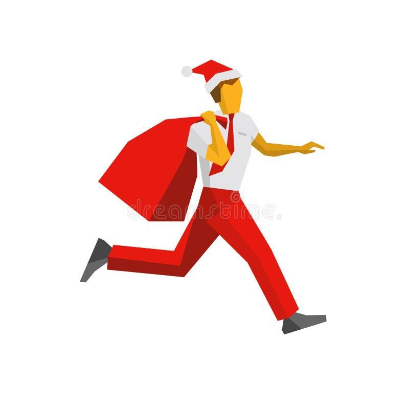 Lopende zakenman in Kerstmanhoed met giftzak royalty-vrije illustratie