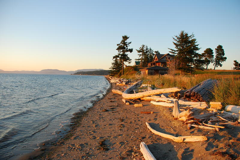 Lopez Island beach by sunset, Washington, USA stock images